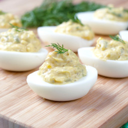 Paleo Dill Pickle Deviled Eggs