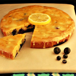 Paleo Lemon Blueberry Poke Cake