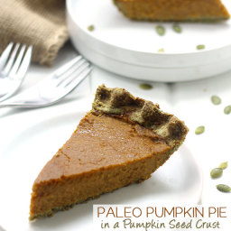 Paleo Pumpkin Pie in a Pumpkin Seed Crust