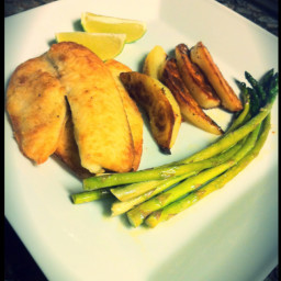 Pan-browned Tilapia and Slow-roasted Potatoes with Oregano and Garlic