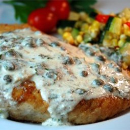 Pan Fried Halibut Steak with Light Green Sauce