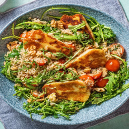 Pan-Fried Halloumi with Steamed Brown Rice & Quinoa