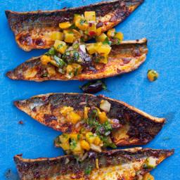 Pan-fried mackerel with golden beetroot and orange salsa