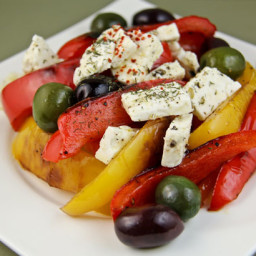 Pan-fried Pepper Salad with Feta and Olives