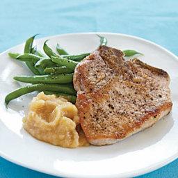 Pan-fried Pork Chops and Homemade Applesauce