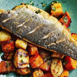 Pan-Fried Sea Bass With Miso, Lemon, and Thyme-Glazed Roasties