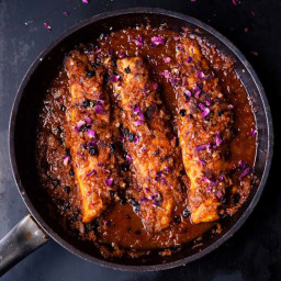 Pan-fried sea bream with harissa and rose