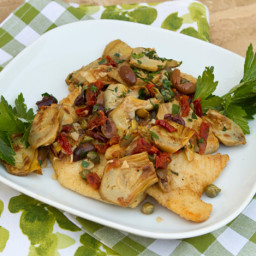 Pan Fried Whitefish with Artichokes, Olives, and Sun-Dried Tomatoes Recipe