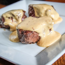 Pan-Grilled Backstrap Topped with Beer Cheese Sauce Recipe