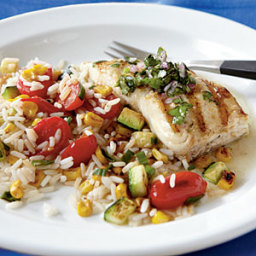 Pan-Grilled Halibut with Chimichurri
