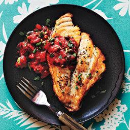 Pan-Roasted Fish with Mediterranean Tomato Sauce