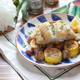 Pan-Seared Codwith Parmesan-Crusted Squash and Roasted Red Potatoes