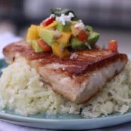"Pan Seared Mahi Mahi over Sticky Coconut ""Rice"" with Mango Salsa"