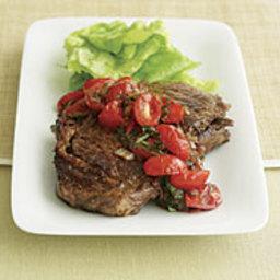 Pan-Seared Rib-Eye Steak with Balsamic Onion and Tomato Salsa