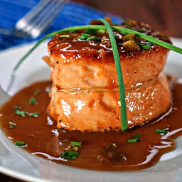 Pan Seared Salmon Fillet with Apricot Jalapeno Butter Sauce