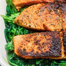 Pan Seared Salmon with Orange Juice, Wilted Spinach and Arugula