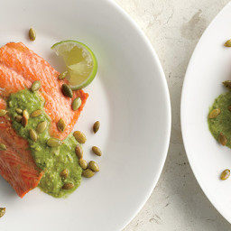 Pan-Seared Salmon with Pumpkin Seed-Cilantro Pesto