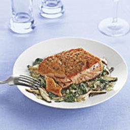 Pan-Seared Salmon with Spinach and Shiitake