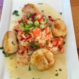 Pan-Seared Scallops over Lobster-Prosciutto Risotto