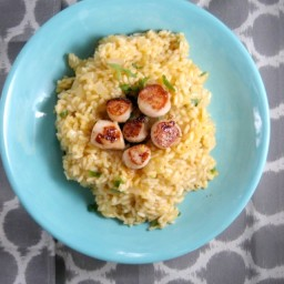 Pan Seared Sea Scallops with Parmesean and Lemon Risotto