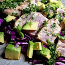 Pan Seared Tuna Steak w/ Cilantro & Lime Vinaigrette