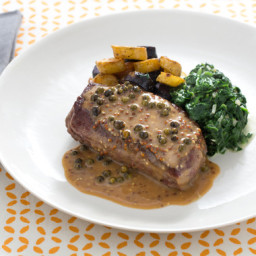 Pan-Seared Steaks with Green Peppercorn Sauce and Roasted Fingerling Potato