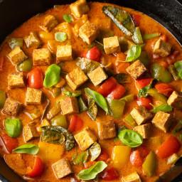 Panang Curry Recipe with Crispy Tofu (Vegetarian)