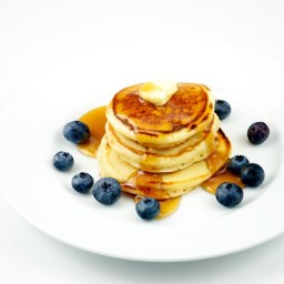 Pancakes with honey and blueberry