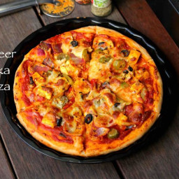 paneer pizza recipe   paneer tikka pizza   homemade pizza with paneer
