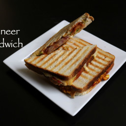 paneer sandwich recipe | grilled spicy cheese paneer sandwich