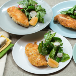 Panko-Crusted Chickenwith Pea Tip Salad and Pink Lemon