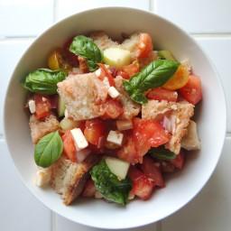 Panzanella with Tomatoes, Cucumber, Feta & Basil