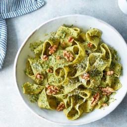 Pappardelle Pasta with Walnut Pesto