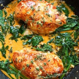 Paprika Chicken and Spinach with White Wine Butter Thyme Sauce