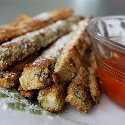 Parmesan Crusted Baked Zucchini Sticks with Marinara Sauce