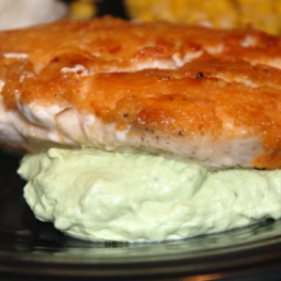 Parmesan Crusted Chicken Breasts with Avocado-Sour Cream Sauce