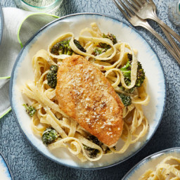 Parmesan-Crusted Chickenwith Creamy Fettuccine and Roasted Broccoli