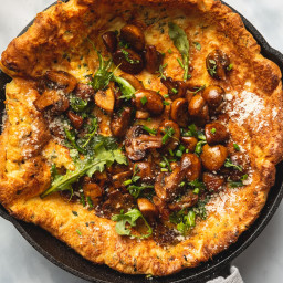 Parmesan-Herb Dutch Baby with Garlic-Butter Mushrooms