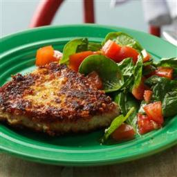 Parmesan Pork Chops with Spinach Salad Recipe