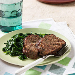 Parmesan-Sage Meatloaf and Garlicky Spinach