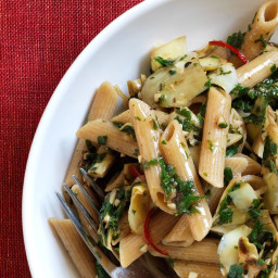 Parsley Pasta with Sautéed Artichokes