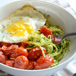 Parsley Pesto Pasta with Blistered Tomatoes