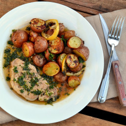 Parsley Pork Chops with Lemon & Herb Roasted New Potatoes