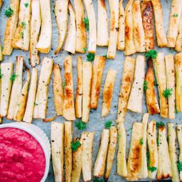 Parsnip Fries with Beetroot Hummus
