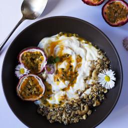 Passion Fruit, Yogurt and Nutty Granola Bowl