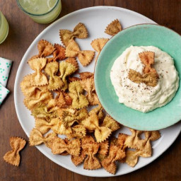 Pasta Chips with Alfredo Dip