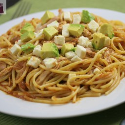 Spicy Chicken Pasta (with Avocado and Queso fresco)