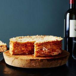 Pasta Pie with Fresh Mozzarella and Basil