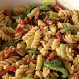 Pasta Salad with Fiddleheads, Bacon, and Sun-Dried Tomatoes Recipe