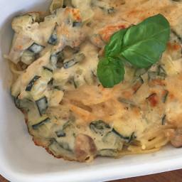 Pasta uit de oven met kip en roomsaus (low FODMAP)
